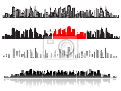 City Landschaft, Silhouetten der Häuser schwarz