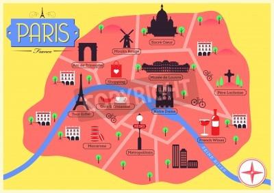City map of paris, france fototapete • fototapeten Infografiken, City Map Of Paris France on