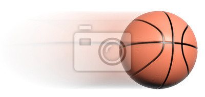 Classic basketball ball in motion isolated on white