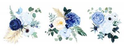 Fototapete Classic blue, white rose, white hydrangea, ranunculus, anemone, thistle flowers, greenery and eucalyptus