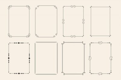 Fototapete classic ornamental decorative frames set of eight