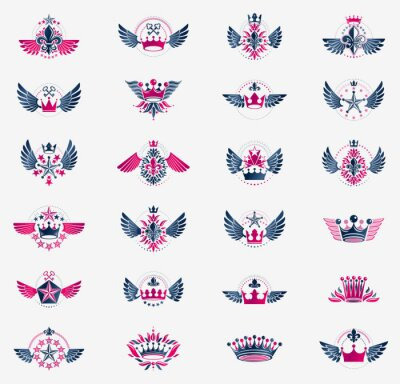 Fototapete Classic style crowns emblems big set, ancient heraldic symbols awards and labels collection, classical heraldry design elements, family or business emblems with coronets.