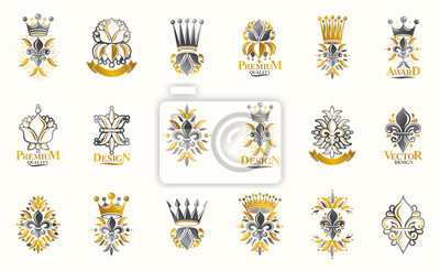 Fototapete Classic style De Lis and crowns emblems big set, lily flower symbol ancient heraldic awards and labels collection, classical heraldry design elements, family or business emblems.