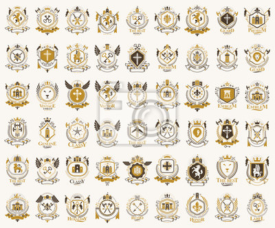 Fototapete Classic style emblems big set, ancient heraldic symbols awards and labels collection, classical heraldry design elements, family or business emblems.