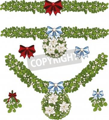 Clip Art Reihe Von Weißen Weihnachten Mistel Dekorative Girlande