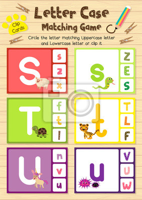 Clip-karten passende spiel der brief fall s, t, u für vorschulkinder ...