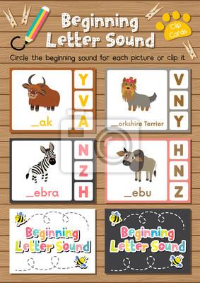 Clipkarten passende spiel des anfangsbuchstabens y, z für ...
