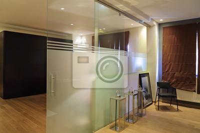 Cloison porte coulissante und verre sablé im intérieur loft ...