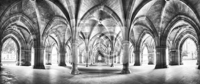 Fototapete Cloister black and white panorama