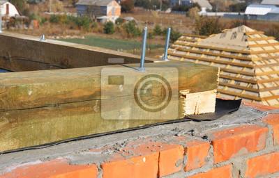 Close Up Auf Gebaude Dachkonstruktion Mit Abdichtung Membran