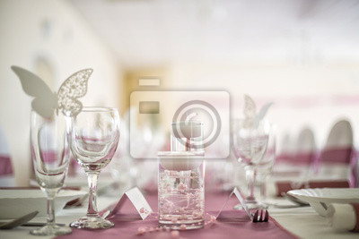 Close Up Detail Der Hochzeit Tischdekoration In Rosa Und Weissen