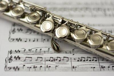 Fototapete Close up Flöte auf Flöte Noten Hintergrund
