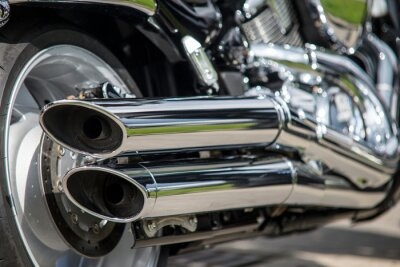 Fototapete close up of motorcycle exhaust