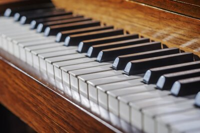 Fototapete Close up of piano keyboard with limited depth of field