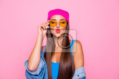 Fototapete Close up photo portrait of winsome pretty cute lovely sweet glad nice lady sending kiss to you wearing orange transparent glasses closed eyes isolated pastel background