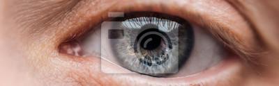 Fototapete close up view of human blue eye looking at camera, panoramic shot