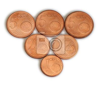 Close-up von 1, 2 und 5 Euro-Cent-Münzen
