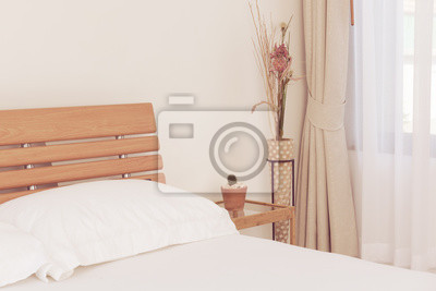 Fototapete Close Up Weißen Schlafzimmer Inneneinrichtung Mit Kaktus  Blumentopf Auf Tisch