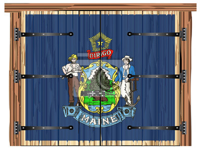 Closed Barn Door With Maine State Flag