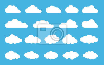 Fototapete Cloud. Abstract white cloudy set isolated on blue background. Vector illustration