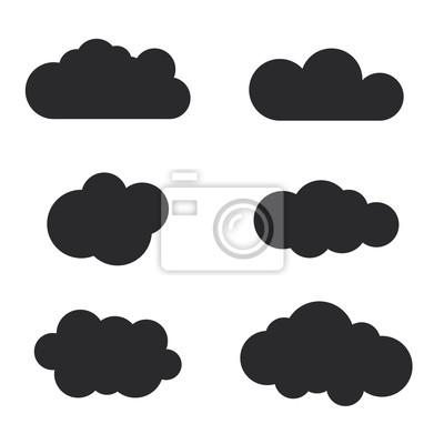 Cloud-icons gesetzt. schwarze kontur isoliert auf weißem hintergrund ...