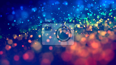 Fototapete cloud of multicolored particles fly in air slowly or float in liquid like sparkles on dark blue background. Beautiful bokeh light effects with glowing particles. 32