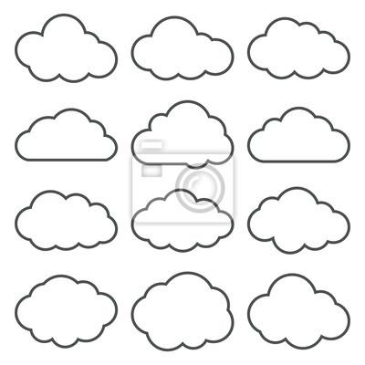 Fototapete Cloud-Shapes-Auflistung. Set von dünnen Linie Wolke Icons.