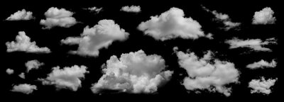 Fototapete Clouds set isolated on black background. White cloudiness, mist or smog background. Collection of different clouds.