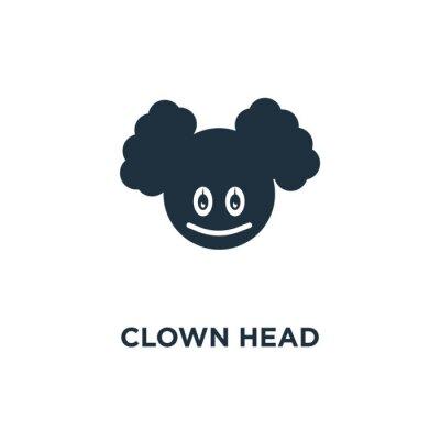 Clown Head icon. Black filled vector illustration. Clown Head symbol on white background.