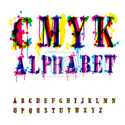 CMYK-Alphabet. Zusammensetzung von unerkannt verschiedene Buchstaben ein