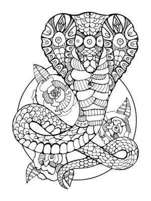 Fototapete Cobra Schlange Malbuch Für Erwachsene Vektor