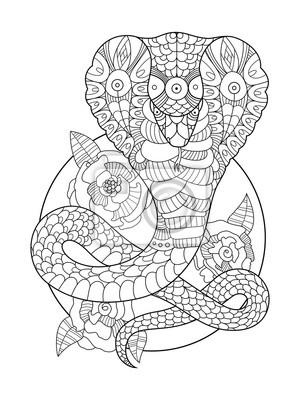 Cobra Schlange Malbuch für Erwachsene Vektor