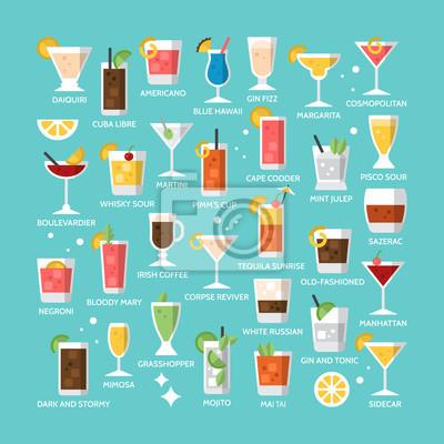 Fototapete Cocktail Alkohol Mischgetränk Icons für Menü-, Web-und Grafikdesign