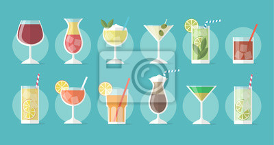 Fototapete Cocktail collection in flat style - set of illustrations with different drinks and cocktails