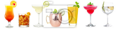 Fototapete cocktails collection isolated on white background