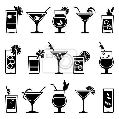 Fototapete Cocktails und Getränke Vektor schwarze Symbole. Trinken Sie Cocktail Alkohol und Cocktail mit Stroh und Obst Illustration