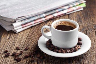 Fototapete Coffee and newspaper