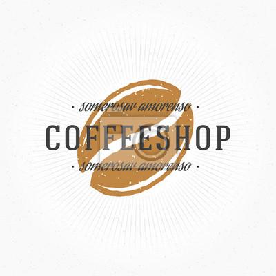 Coffee shop hand gezeichnet logo vorlage. fototapete • fototapeten ...