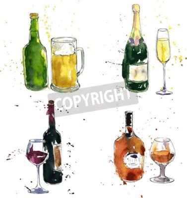 Fototapete Cognac-Flasche und Tasse, Weinflasche und Glas, Champagner-Flasche und Glas, Bierflasche und Tasse, Zeichnung von Aquarell und Tinte, von Hand gezeichnet Vektor-Illustration
