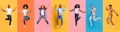 Fototapete Collage of cheerful jumping multinational people in air on color background, panorama