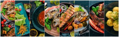 Fototapete Collage of dishes. Salads, snacks, and meat dishes and fish. On a wooden background. Top view.