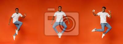Fototapete Collage of jumping black guy on orange