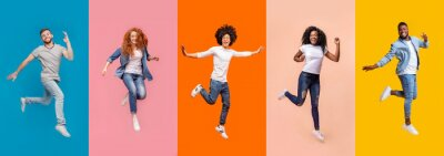 Fototapete Collage of jumping multinational people on color background, panorama