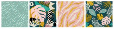 Fototapete Collage tropical and polka dot seamless pattern set. Modern exotic design for paper, fabric, interior decor