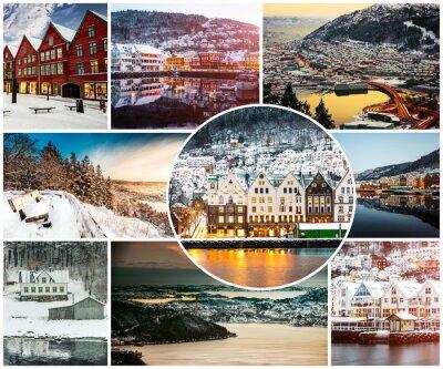 Fototapete Collage von Winter und Attraktionen in Bergen