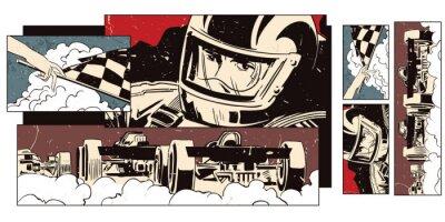 Fototapete Collage zum Thema Sport und Autorennen.