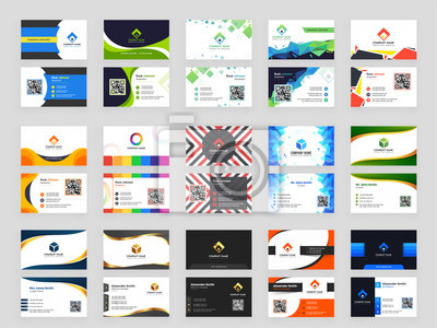 Fototapete Collection of 15 horizontal Business card template design with front and back presentation.