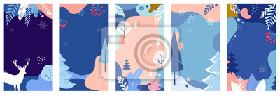 Fototapete Collection of abstract background designs, winter sale, social media promotional content. Vector illustration