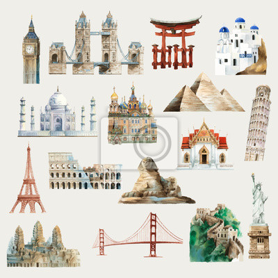 Fototapete Collection of architectural landmarks around the world watercolor illustration