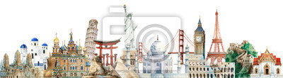Fototapete Collection of architectural landmarks painted by watercolor